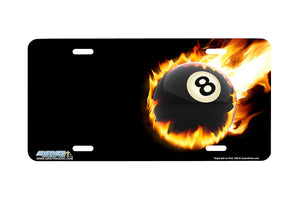 "Airstrike® 398-""Eight Ball on Fire"" Pool Ball  License Plates"
