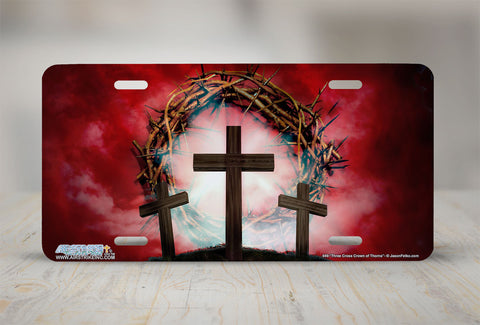 "Airstrike® Christian License Plate 449-""Three Cross Crown of Thorns"" Cross License Plates"
