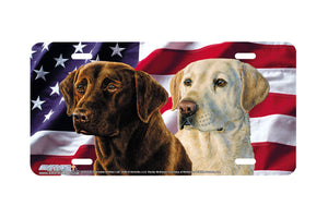 "Airstrike® 5404-""American Chocolate and Yellow Lab"" Lab Dog License Plate"