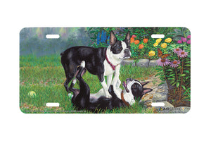 "Airstrike® 5391-""Time Out"" Black Boston Terrier Dog License Plate"