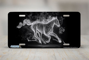 "Airstrike® Mustang License Plate 590-""Fire Mustang White""-Horse License Plate"