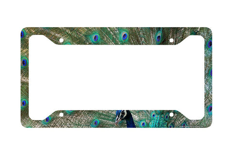 Airstrike® Peacock License Plate Frame, Peacock Car Tag Frame, Peacock License Plate Holder, Cute Peacock Print License Plate Frame-30-286