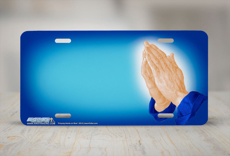 "Airstrike® Christian License Plate 325-""Praying Hands on Blue""  Airbrushed License Plates"