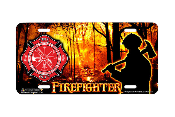 "Airstrike® Firefighter License Plate 555-""Firefighter with Axe""-Fireman License Plate"