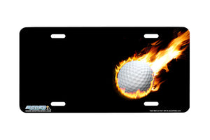 "Airstrike® 401-""Golf Ball on Fire"" Golf License Plates"
