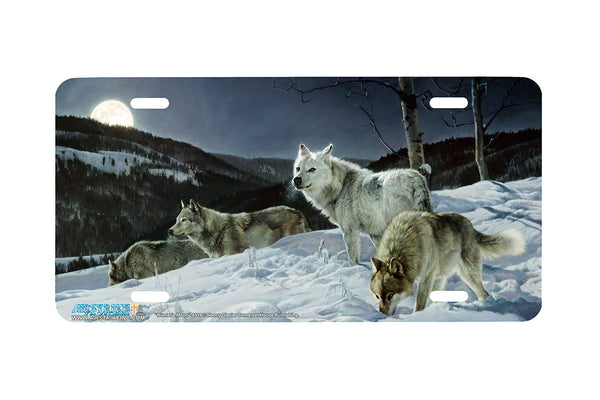 "Airstrike® Wolf License Plate 6514-""Hunter's Moon"" Wolf License Plates"