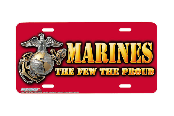 "Airstrike® Marine Corps License Plate Marine License Plate ""Marines The Few The Proud Red""-278"