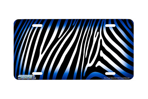 "Airstrike® 607-""Blue Ringer Zebra Print"" Zebra Background License Plate"