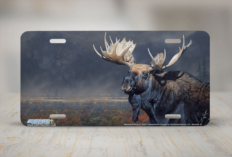 "Airstrike® 8222-""Marshland Monarch""-Moose License Plate"