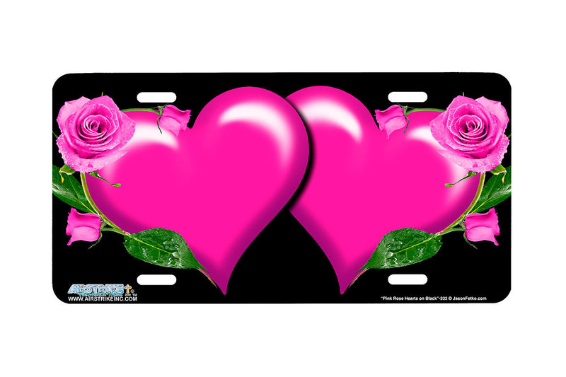 "Airstrike® 332-""Pink Rose Hearts on Black"" Heart Airbrushed License Plates"