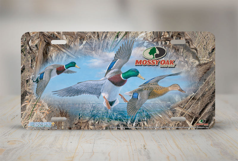 "Airstrike® Mossy Oak License Plate 8022-""Duck Blind Ringer and Day at the Bay""-Mossy Oak Camo Duck License Plate"