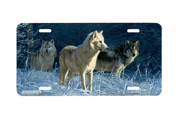 "Airstrike® Wolf License Plate 8267-""White Gold""-Wolves License Plate"
