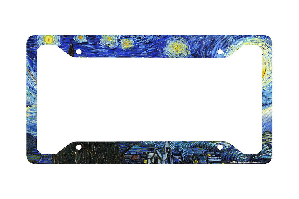 Airstrike® Starry Night License Plate Frame, Van Gogh Car Tag Frame, Starry Night License Plate Holder, Van Gogh Decorative License Plate Frame-30-701