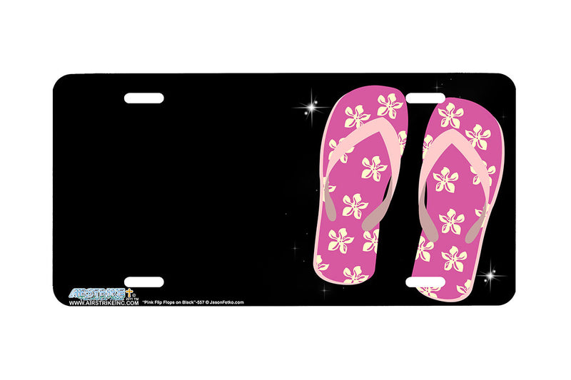 "Airstrike® Flip Flops License Plate 557-""Pink Flip Flops on Black""-Flip Flops License Plate"