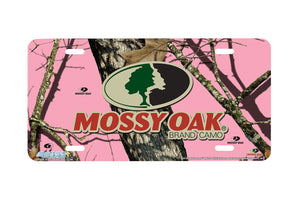 "Airstrike® Pink Mossy Oak Car Accessories 8002-""Pink Break Up Logo""-Pink Mossy Oak License Plate"