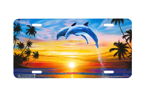 "Airstrike® Dolphin License Plate 668-""Dolphin Sunset"" Dolphins Jumping License Plate"