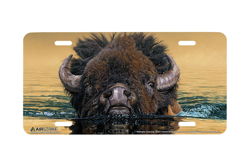 "Airstrike® 8242-""Stillwater Crossing""- American Bison Buffalo License Plate"