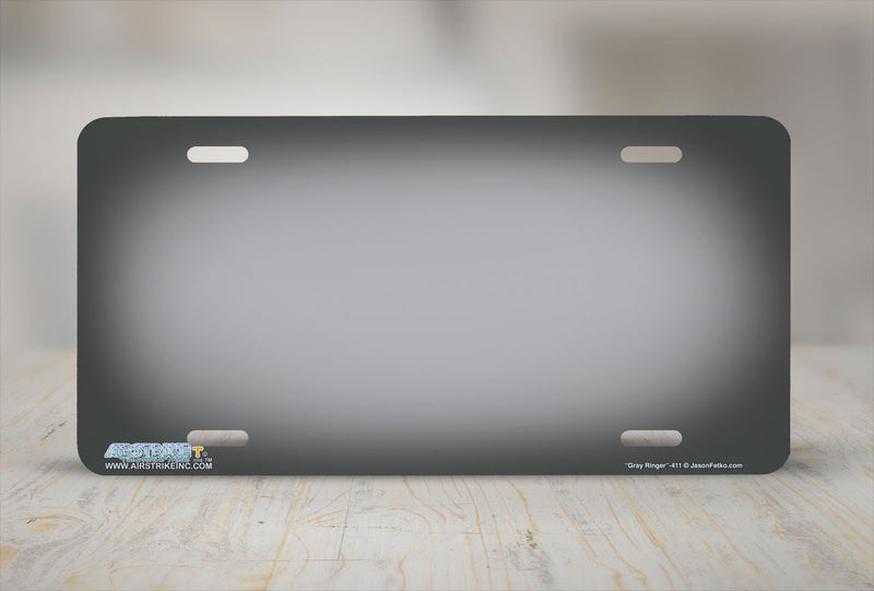 "Airstrike® 411-""Gray Ringer"" Gray Background License Plates"