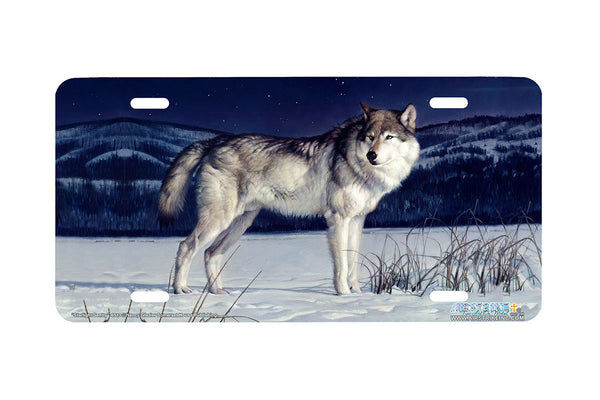 "Airstrike® Wolf License Plate 6513-""Starlight Sentry"" Wolf License Plates"