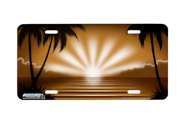 "Airstrike® Beach License Plate 573-""Brown Sunburst"" Beach Scene License Plate"