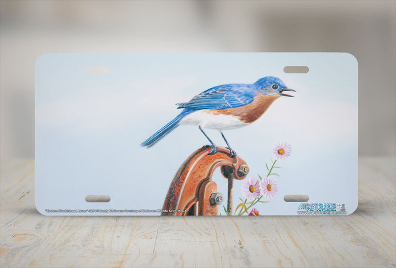 "Airstrike® 5264-""Eastern Bluebird and Asters"" License Plate"