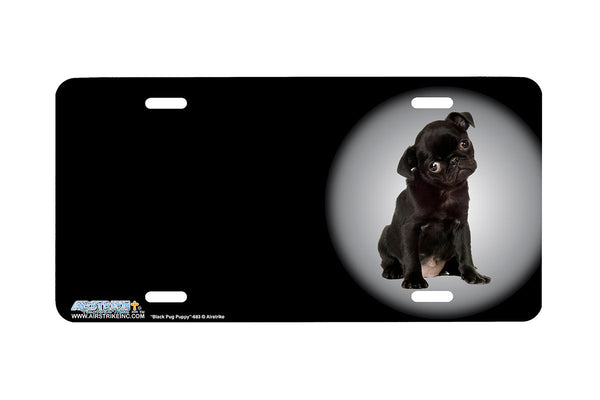 "Airstrike® 273-OB-""Black Pug Puppy"" Pug Dog License Plates"