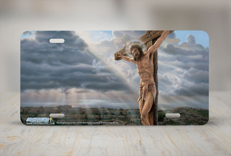 Airstrike® Pictures of Jesus on The Cross Christian License Plate The Forgiveness of Sin-5724