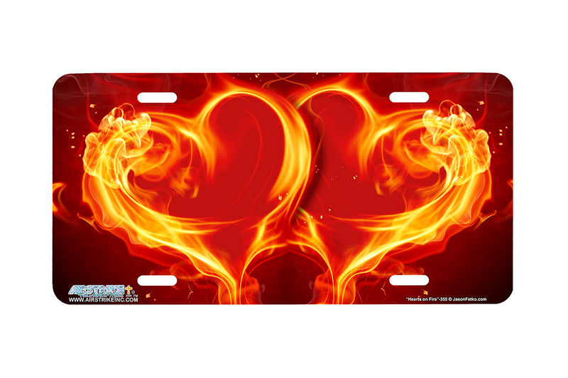 "Airstrike® 355-""Hearts on Fire"" Heart Airbrushed License Plates"