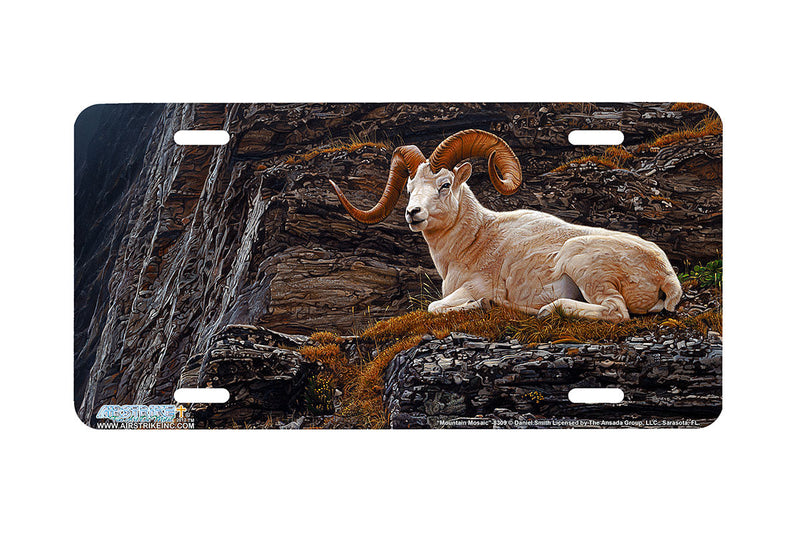 "Airstrike® 8309-""Mountain Mosaic""-Dalls Sheep License Plate"