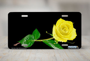 "Airstrike® 304-""Yellow Rose on Black"" Easily Personalized License Plates"