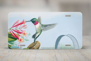 "Airstrike® 5267-""Ruby Throated Hummingbird"" License Plate"