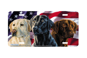 "Airstrike® 5417-""American Trio"" Lab Dog License Plate"