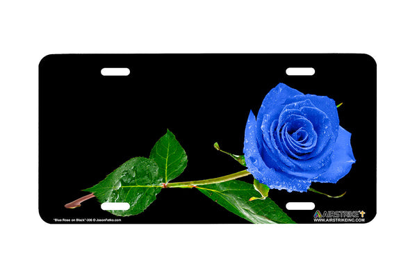 "Airstrike® 306-""Blue Rose on Black"" Easily Personalized License Plates"