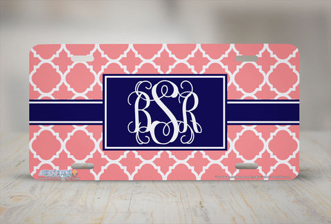"Monogrammed License Plates Monogram License Plate Monogrammed Car Tags ""Coral Quatrefoil Blue""-694"