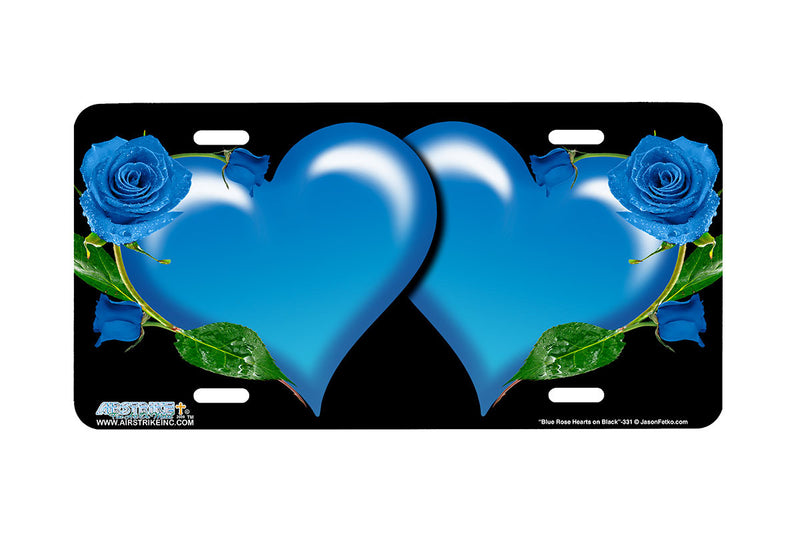 "Airstrike® 331-""Blue Rose Hearts on Black"" Heart Airbrushed License Plates"