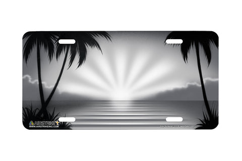 "Airstrike® Beach License Plate 312-""Gray Sunburst"" Beach Scene Airbrushed License Plate"