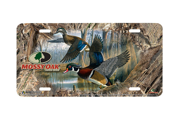 "Airstrike® Mossy Oak License Plate 8027-""Duck Blind Ringer and Five o Clock Shadows""-Mossy Oak Camo Duck License Plate"