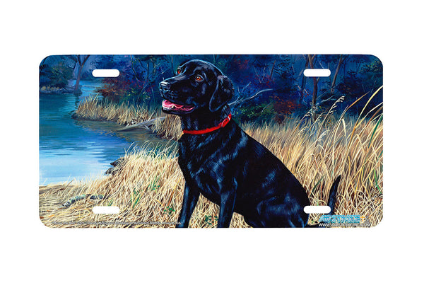 "Airstrike® 5323-""Throw the Ball"" Black Labrador Retiever Dog License Plate"