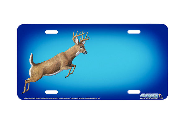 "Airstrike® 5424-""Fleeting Moment""-Offset Blue Deer License Plate"