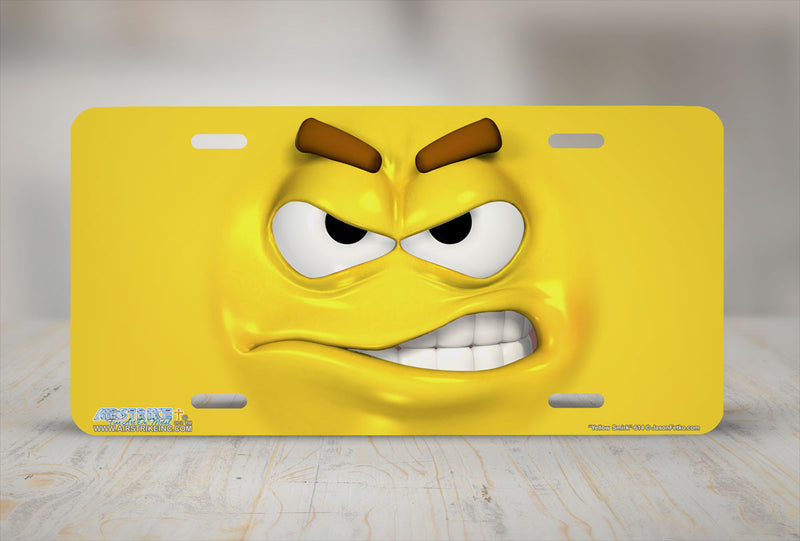 "Airstrike® 614-""Yellow Smirk"" Emoticon Face License Plate"