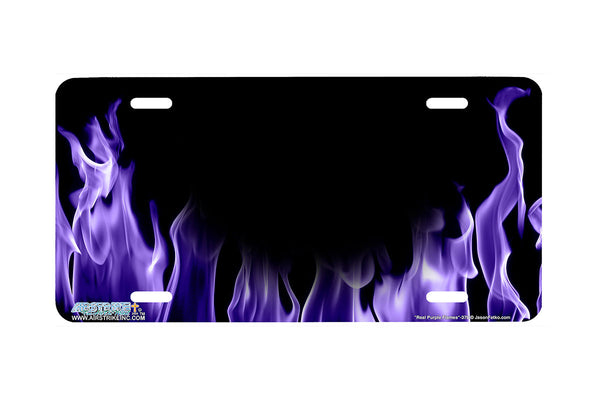 "Airstrike® 378-""Real Purple Flames"" Fire License Plates"