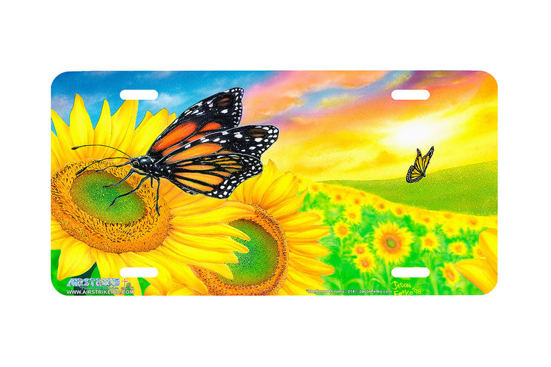 "Airstrike® Butterfly License Plate 214-""Sunflower Dreams"" License Plate"