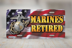 "Airstrike® Marine Corps License Plate Marine License Plate ""Marines Retired""-525"
