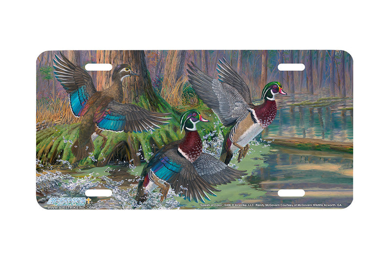 "Airstrike® 5406-""Splash of Color"" Wood Duck License Plate"