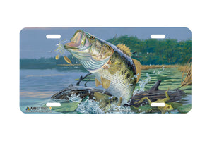 "Airstrike® Bass Fishing License Plates 5428-""Rude Awakening""-Bass License Plate"