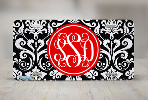 "Monogrammed License Plates Monogram License Plate Monogrammed Car Tags ""Damask Monogram Red""-691"