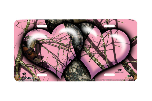 "Airstrike® Pink Mossy Oak Car Accessories 8036-""Pink Break Up Hearts""-Pink Mossy Oak License Plate"