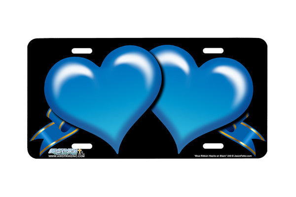 "Airstrike® 340-""Blue Ribbon Hearts on Black"" Heart Airbrushed License Plates"