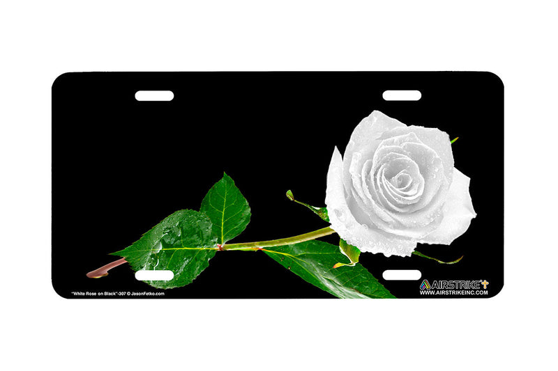 "Airstrike® 307-""White Rose on Black"" Easily Personalized License Plates"
