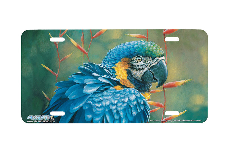 "Airstrike® 3424-""Blue Macaw"" Parrot License Plate"